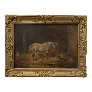 """Mid 20th Century """"Horse and Dog"""" Oil Painting, Framed For Sale"""