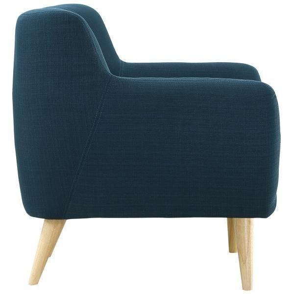Mid-Century-Style Polyester Blue Armchair - Image 2 of 5