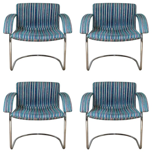 Chrome Set of Four Italian Mid-Century Chairs by Saporiti Italia For Sale - Image 7 of 7