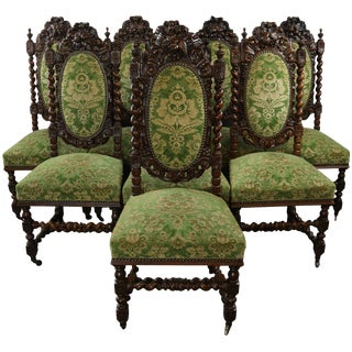 Dining Chairs Hunting Renaissance Set 8 French For Sale