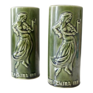 Green Tiki Mugs - A Pair