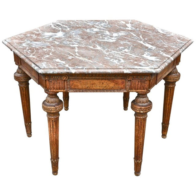 19th Century French Neoclassical Hexagonal Centre Table with Marble Top For Sale In Boston - Image 6 of 6
