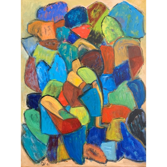 """Color, light, happy - what's not to love. Contemporary Danish artist Eva Breyer titles this color block canvas """"Ravel.""""..."""