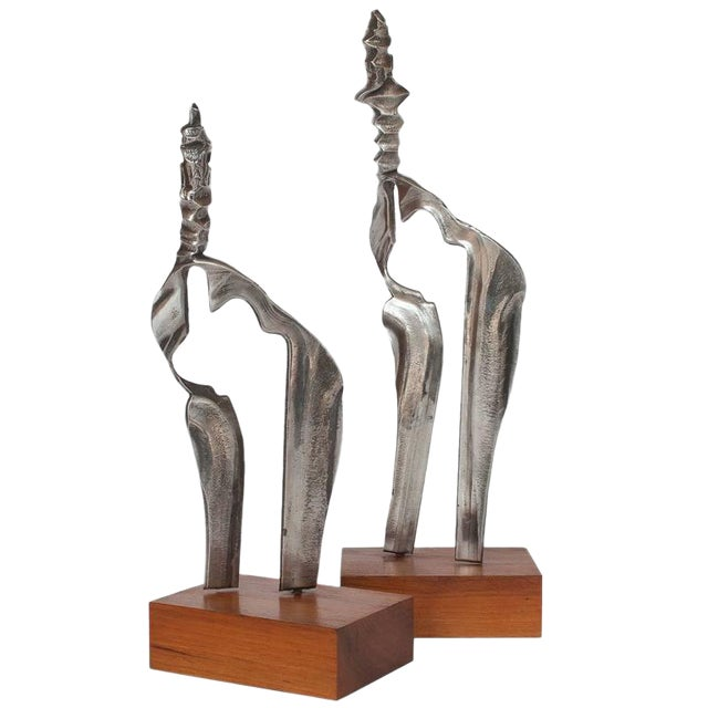 Set Two Cast Aluminum Modernist Abstract Sculptures For Sale
