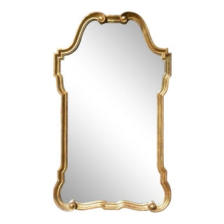 Vintage Hollywood Regency Italian Gilt Wood Mirror For Sale