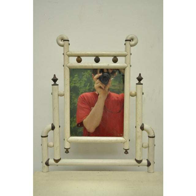 "30"" H Antique Arts & Crafts Salesman Sample Bentwood Painted Dresser & Mirror For Sale - Image 4 of 11"