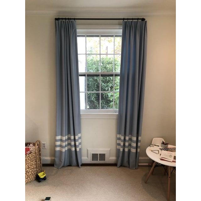 Schumacher Blue With White Trim Curtain Panels - a Pair For Sale - Image 9 of 9