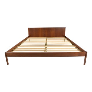 "Danish Modern Teak Oversized Queen Bed Frame, 69.5"" Wide For Sale"