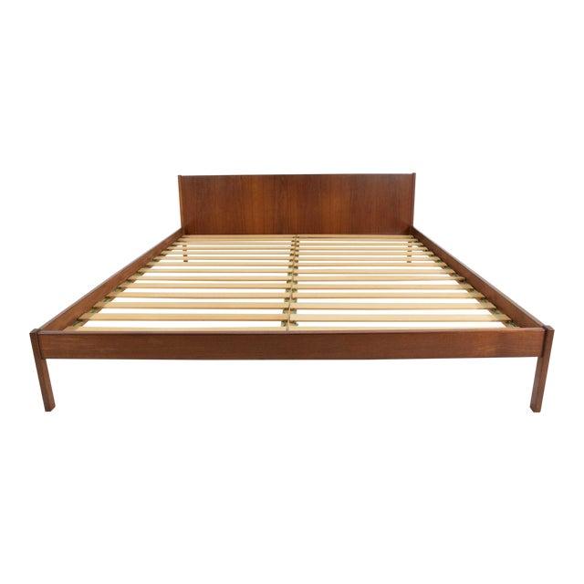 "Danish Modern Teak Oversized Queen Bed Frame, 69.5"" Wide For Sale"