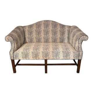 Dark Blue and White Upholstered Loveseat For Sale