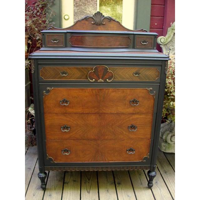 Vintage Flame Walnut & Black Highboy Dresser - Image 3 of 10