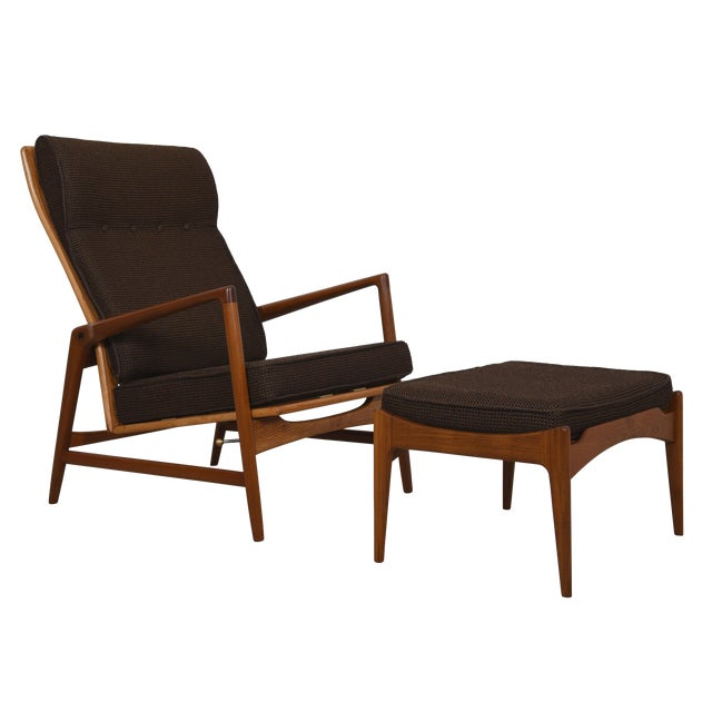 Kofod Larsen Danish Modern Teak Adjustable Lounge Chair with Ottoman - Image 1 of 10