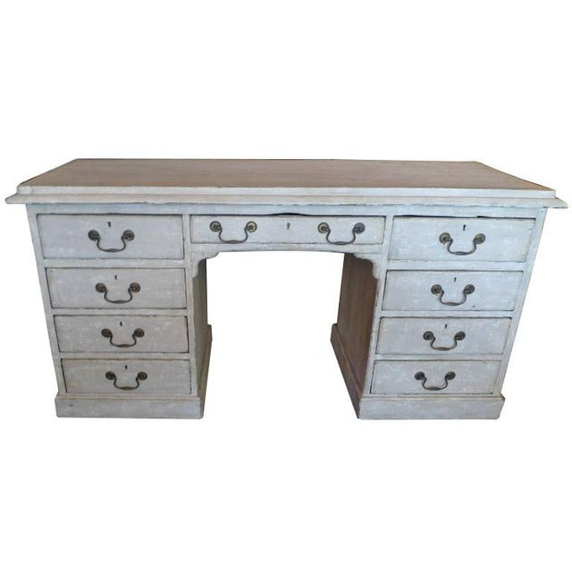 19th Century English XIX Painted Knee-Hole Partner Desk For Sale - Image 12 of 12