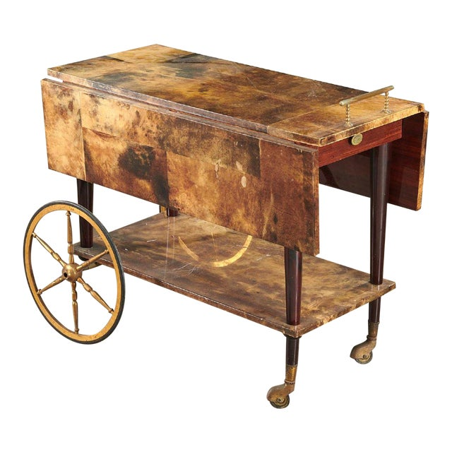 1950s Aldo Tura Drop Leaf Bar Cart For Sale