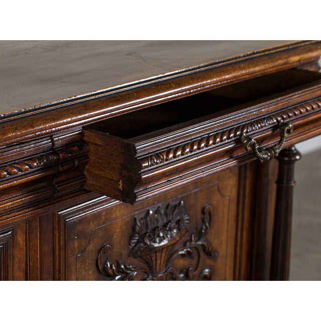 Mid 19th Century Antique French Henri II Style Walnut Buffet circa 1875 For Sale - Image 5 of 11