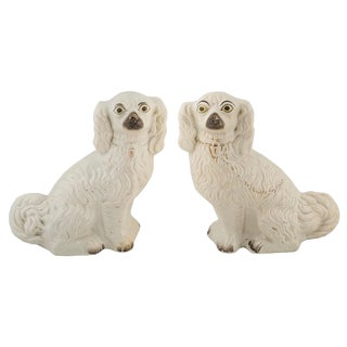 Mid 19th Century Vintage English Staffordshire Spaniel Dogs- a Pair For Sale