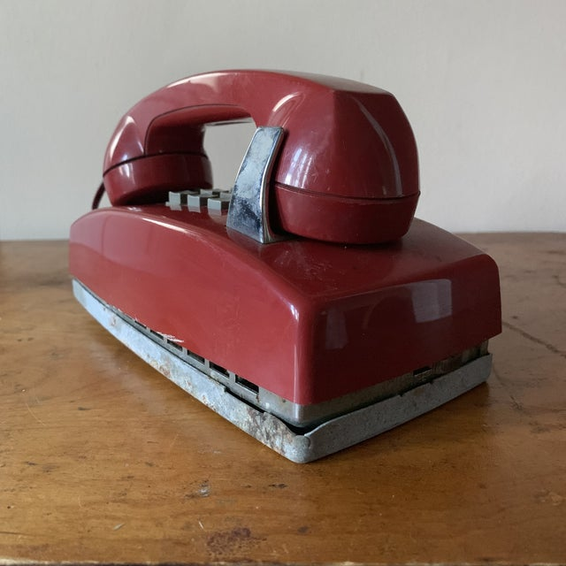 Boho Chic Vintage Red Push Button Telephone For Sale - Image 3 of 11