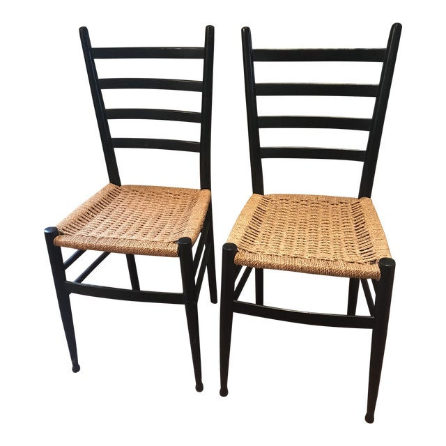 Vintage Mid Century Gio Ponti Black Lacquer Woven Ladder Back Chairs-A Pair For Sale