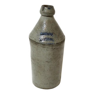 Late 19th Century Antique American Stoneware Beer Bottle For Sale