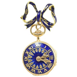 20th Century Victorian Revival Watch Theme Blue Enamel and Gold Locket With Bow Brooch For Sale