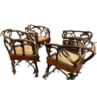 circa 1900 Cabin Decor Antler Armchairs - Set of 4 For Sale