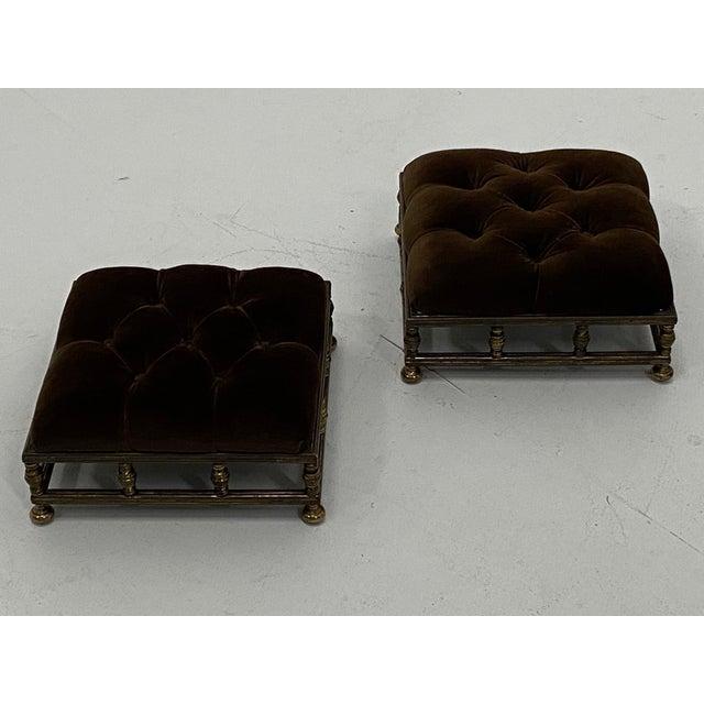 Edwardian Brass & Velvet Footstools - a Pair For Sale In Philadelphia - Image 6 of 10