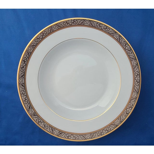 "Limoges Porcelain Philippe Deshoulieres Orleans Pattern Platinum Band 8 3/4"" Soup Bowl For Sale In New York - Image 6 of 6"