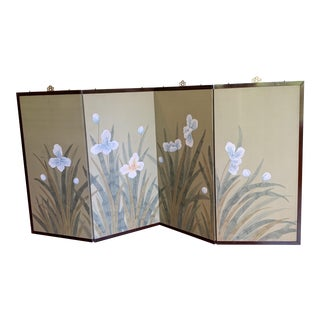 Antique Asian Chinoiserie Handpainted Silk 4-Panel Folding Screen For Sale