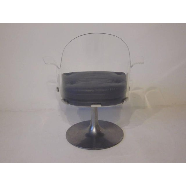 Contemporary Vladimir Kagan Styled Lucite Upholstered Swivel Chair For Sale - Image 3 of 7