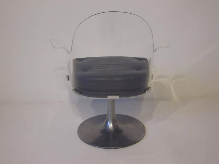 Vladimir Kagan Styled Lucite Upholstered Swivel Chair   Image 3 Of 7
