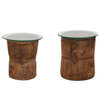 19th Century Rustic Wood Mortar and Glass Top Side Tables - a Pair For Sale