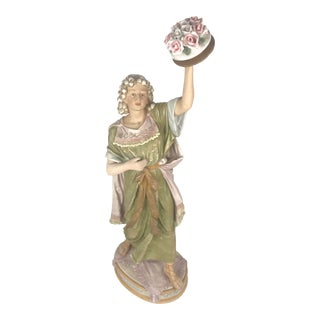 19th Century Rococo Porcelain Figurine of Woman For Sale