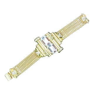 Mid-Century Glam Architectural Woven Link Crystal Bracelet, 1940s For Sale