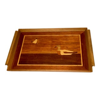 Vintage Inlaid Wood Service Tray Featuring Duck Motif For Sale