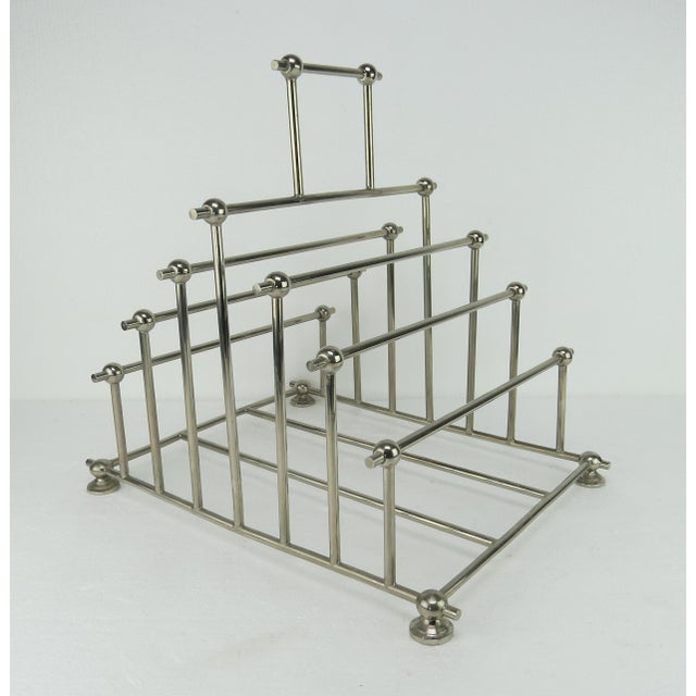 1970s Art Deco Inspired Architectural Chrome Magazine Holder/Rack For Sale - Image 10 of 10
