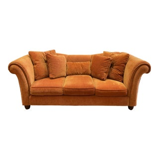 Stratford House Rolled Arm Orange Chenille Sofa For Sale