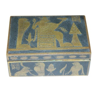 19th Century Egyptian Heavy Engraved Black & Brass Snuff/Tobacco Box For Sale