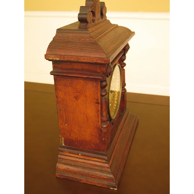 Early 21st Century Antique Victorian Oak Mantle Clock For Sale - Image 5 of 10
