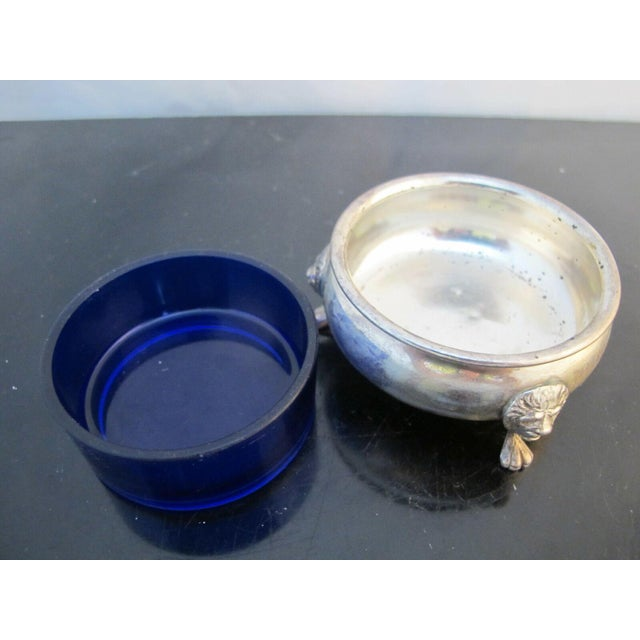 Metal Sterling Silver Amston 415 Lion Feet Open Salt Bowls with Cobalt Liners and Spoons - a Pair For Sale - Image 7 of 9