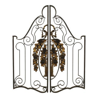 Pair Of French Art Deco Wrought Iron And Gilt Trimmed Gates For Sale