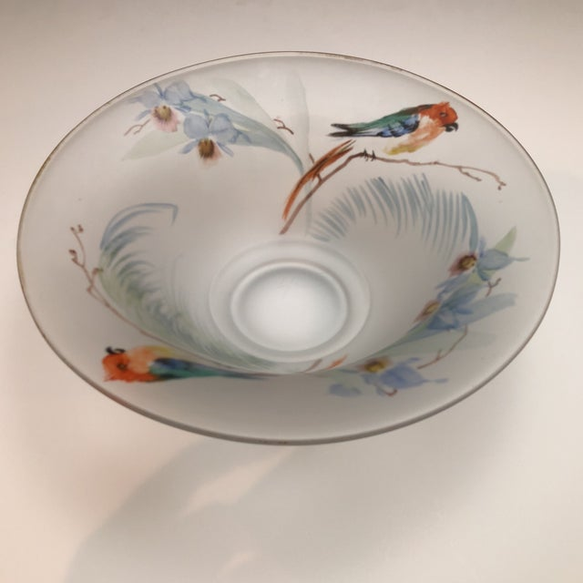 Beautiful vintage hand painted frosted glass bowl decorated with colorful parrots and floral accents. Gold rimmed,...