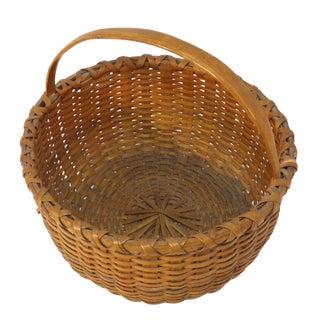 Antique New England Woven Ash Splint Basket For Sale