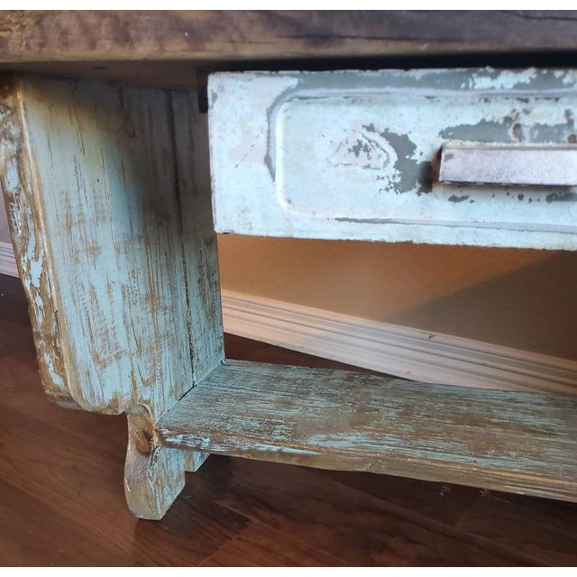 Early 20th Century Antique Rustic American Country Farmhouse Wooden Bench For Sale - Image 5 of 11