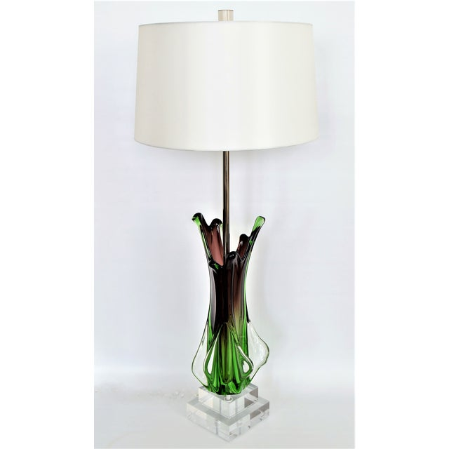 Antique Monumental Murano Glass Burgandy and Green Table Lamp With Lucite Base--Italy Italian Venetian Mid Century Modern Hollywood Regency - Image 2 of 10