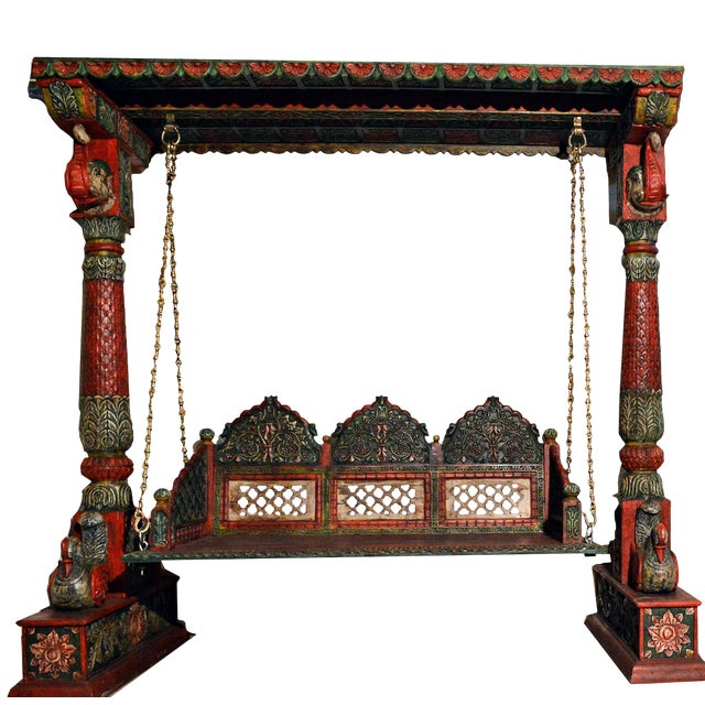 Carved Elephant & Peacock Wooden Carved Royal Swing Set / Indoor Jhula - Image 1 of 5