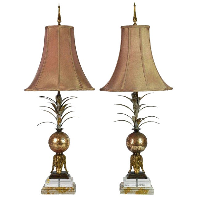 Pair of Vintage Tropical Themed Distressed Gilt Table Lamps by John Richard For Sale