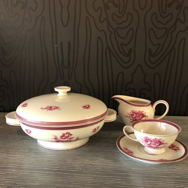 Pretty vintage pink Rosenthal porcelain covered serving bowl, creamer and cup and saucer in Winnifred pattern.