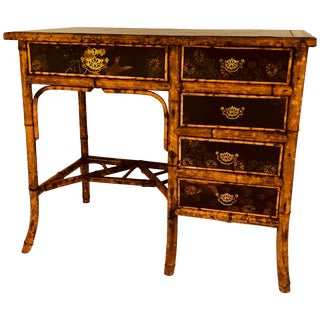 Brass-Mounted Bamboo and Lacquer Desk For Sale