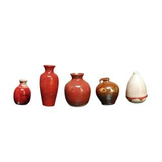 Assembled Red Glazed Diminutive Pottery - Set of 5 For Sale