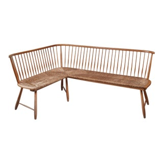 Beech and cane corner bench, Germany, 1950s